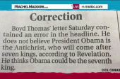 Paper corrects Obama End Times theory
