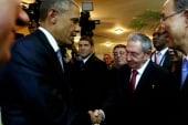 Obama and Castro share historic handshake