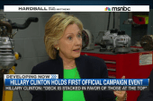Hillary makes her first campaign stop