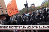 A split-screen moment: Baltimore vs. D.C.
