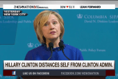 Hillary Clinton distances herself from Bill