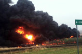 Oil train burns day after new safety rules