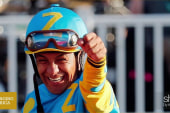 American Pharoah jockey donates Triple...