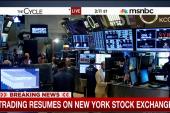 Trading resumes on New York Stock Exchange
