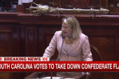 Politician gives rousing speech during...