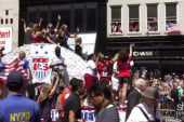 First-person look at women's soccer parade