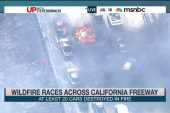 Wildfire races across California freeway