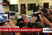 First couple gets license in Davis' office