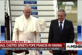 Pope Francis greeted by Raul Castro in Cuba