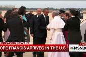 Pope Francis greeted by president, first lady
