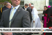 Pope Francis arrives at the United Nations