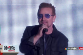 Bono delivers an address to Global Citizen...