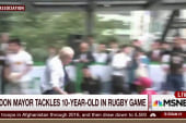 Mayor flattens 10-year-old boy in rugby game