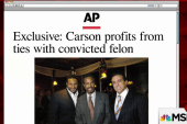 Carson benefits from troublesome ties: report