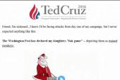 Cruz fundraising off newspaper cartoon