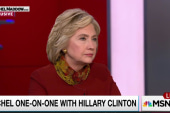 Clinton draws distinction from Sanders