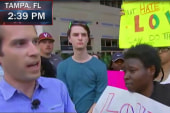 Protesters, supporters debate at Trump rally