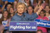 Clinton rallies supporters after primary wins