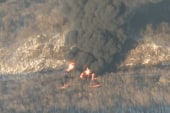 Train carrying oil derails, catches fire