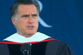 Romney hits social hot button in commencement