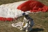 Skydiver lands safely after historic jump