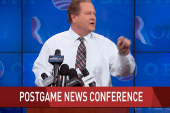 Ed hosts 'postgame news conference'