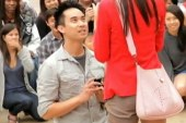Man proposes to girlfriend with dancing...