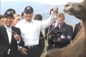 Biden hangs with wrestlers, camels in...