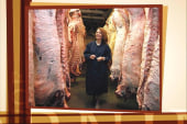 Bachmann chills out in a meat locker