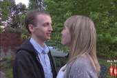 'Virgin' couple kisses for first time on...