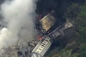 Train derailment sparks fire near Baltimore