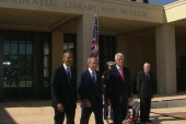 Presidents come together to honor Bush