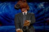 Colbert horses around over news of Romney...