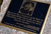 First Couple's first kiss immortalized on...