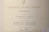 Matthews receives Certificate of Irish...