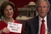 Laura Bush on George W. Bush's painting