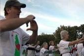 Senior citizens take part in dancing flash...