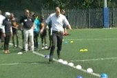 Prince demonstrates soccer skills