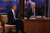 President Obama speaks with Jay Leno