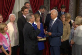 VP goes 'full Biden' at Senate swearing-in