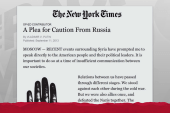 Putin cautions US on Syria in NYTimes Op-Ed
