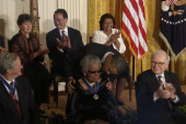Maya Angelou receives the Medal of Freedom