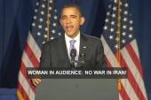 Obama responds to anti-Iran war heckler