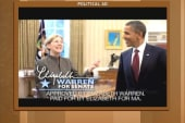 Warren, Scott Brown reference Obama in new...