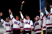 USA hockey captain Mike Eruzione supports...