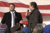 Protesters jump on stage during Cruz rally