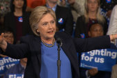 Sanders supporters interrupt Clinton event