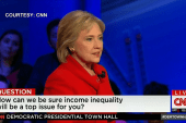 Clinton touts record on fighting for equality