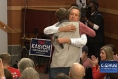 John Kasich hugs supporter at SC town hall