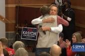 John Kasich hugs supporter at SC town hall